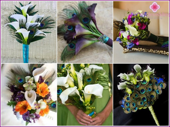 Calla lilies and peacock feathers in a wedding bouquet