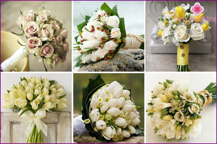 Spring bride bouquet in green and cream