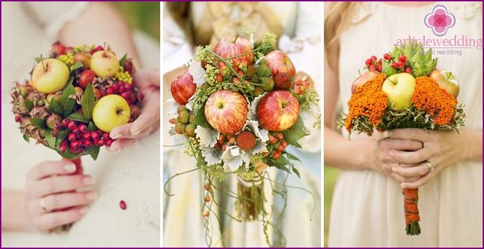Herbsthochzeitsarrangement mit Brautäpfeln
