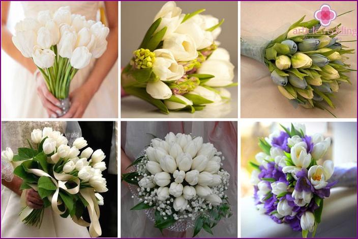 Tulips in a newlywed flower arrangement
