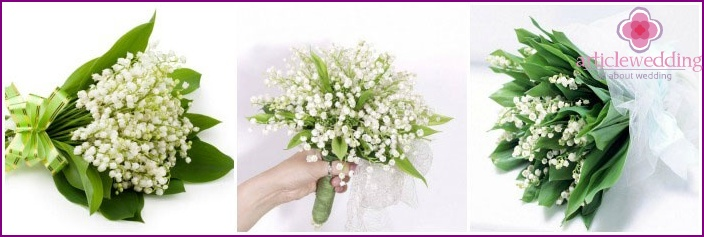 Bouquet ensemble with lilies of the valley for a wedding