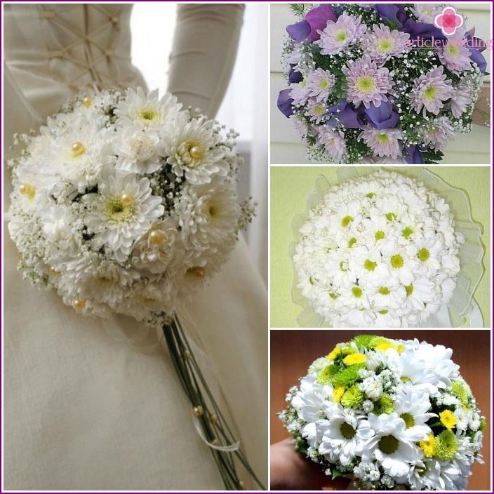 Wedding bouquet ensemble: chrysanthemums