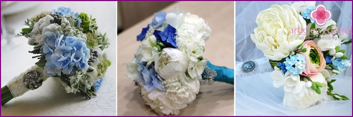 The decor of the newlywed's floral arrangement: brooch on a ribbon