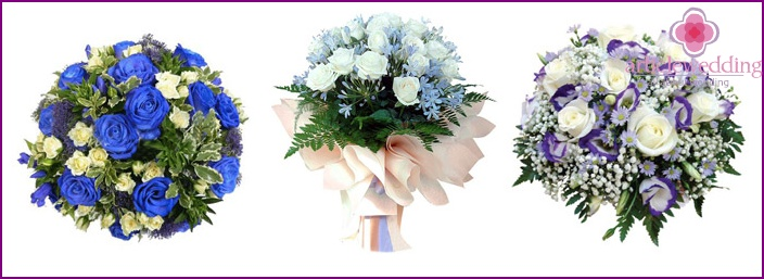 White roses in a blue bouquet for the bride