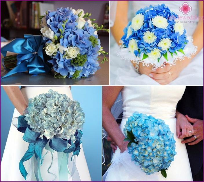 Turquoise flowers for the bride and groom