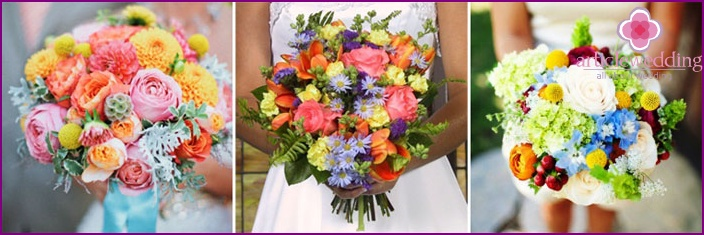 Bright multi-colored bouquets of the bride
