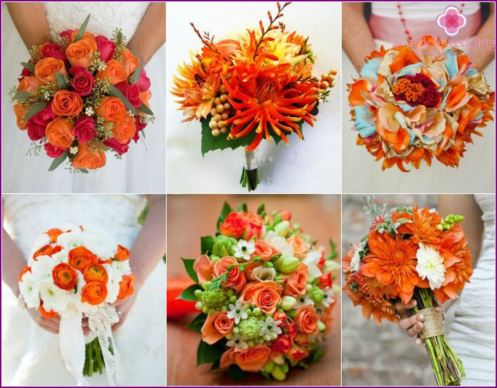 Bright and stylish orange wedding bouquet