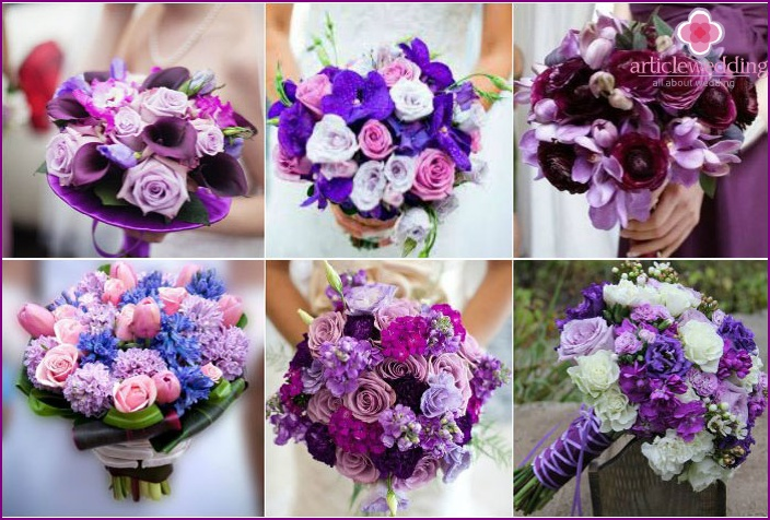 Bridal bouquet in bright purple colors
