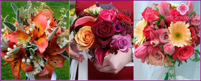 Bright bouquets for the bride