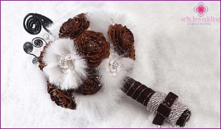 Winter bridal bouquet of cones