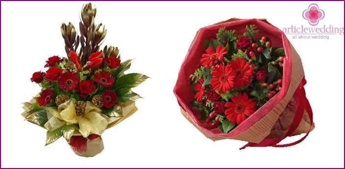 Bridal bouquet: hyperinkum and gerbera