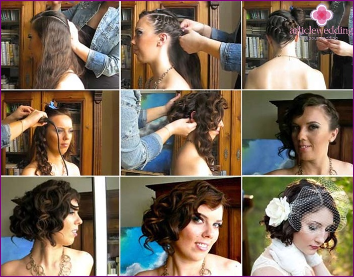 Braiding hair in a wedding hairstyle