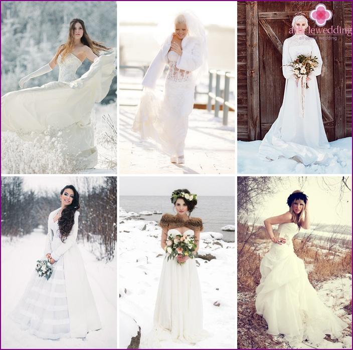 Winter bride in a wedding dress