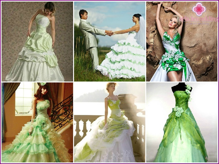 Outfit of a newlywed with green frills and ruffles