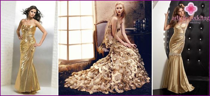 Exquisite Gelbgold Hochzeit Robe