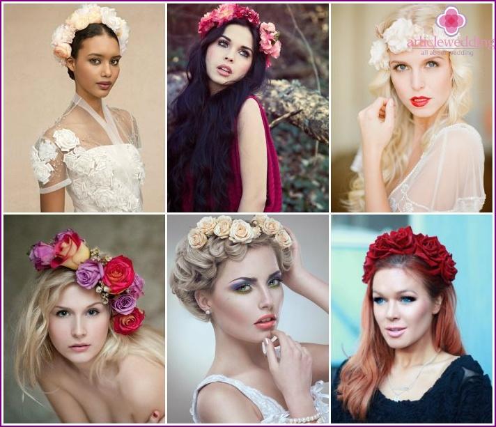 Artificial flowers bride wreath