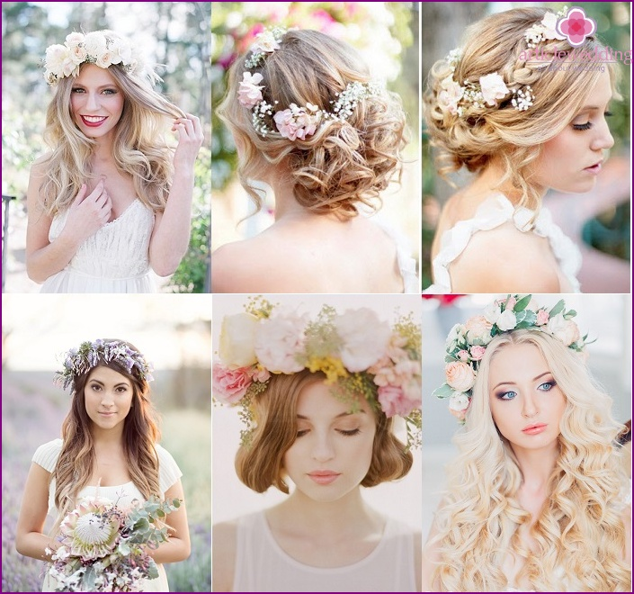 Examples of wedding hairstyles with a wreath