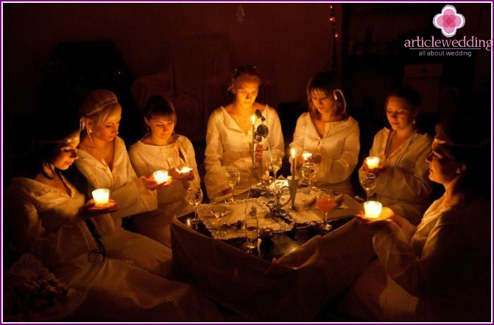Witch fortune-telling during a bachelorette party