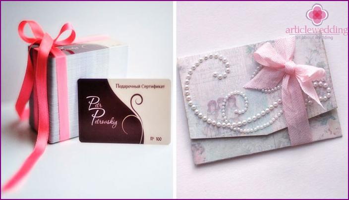 Gift vouchers for a bachelorette party bride