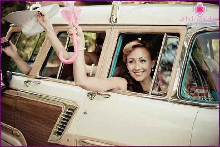 Driving a retro car