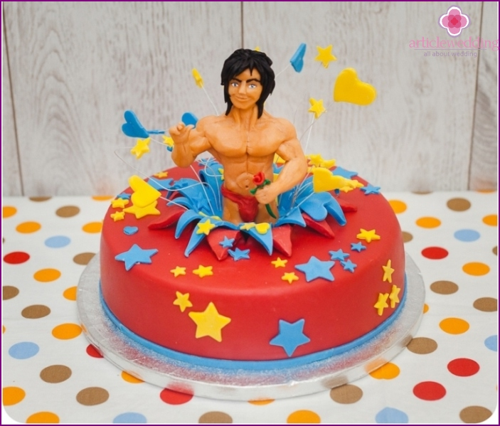 Cake for a bachelorette party with a naked man