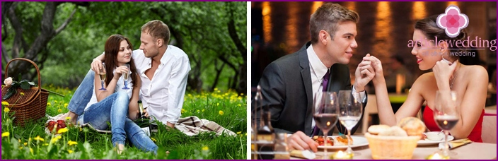 Wedding photo session in nature and in a restaurant
