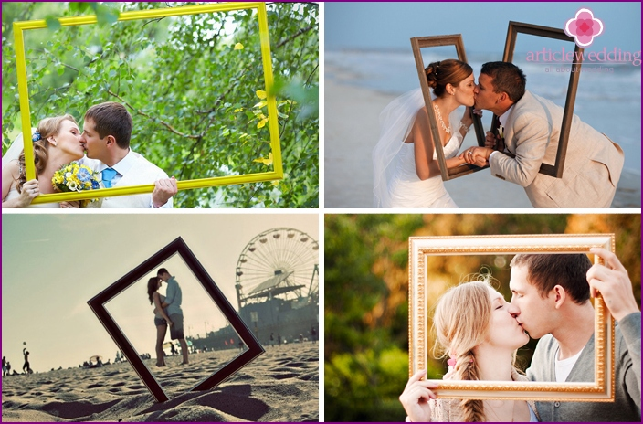 Photo session of lovers with picture frames