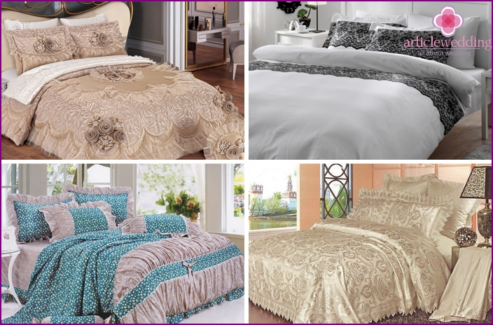 Wedding bedding with lace