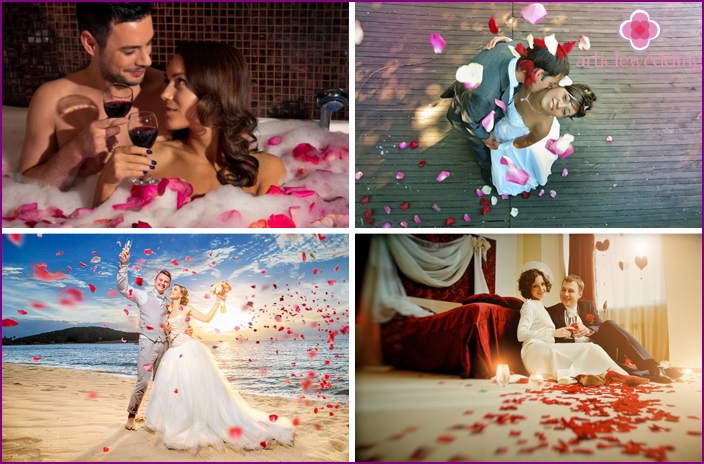 Photo session of lovers with rose petals