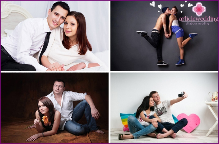 Photoshoot of lovers in the studio