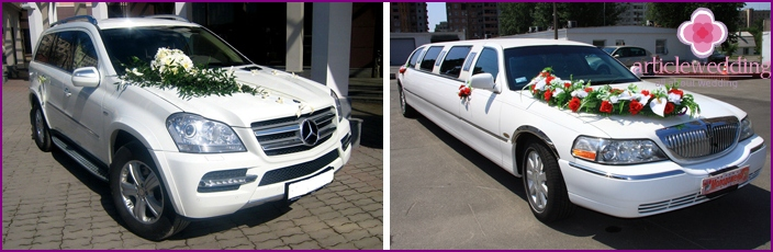 Car for the wedding: jeep and limousine