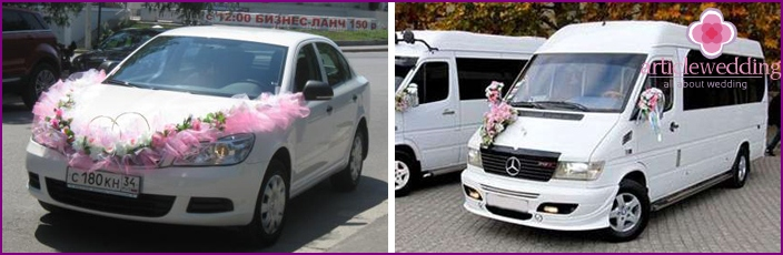 Car for the wedding: a minibus and a budget car