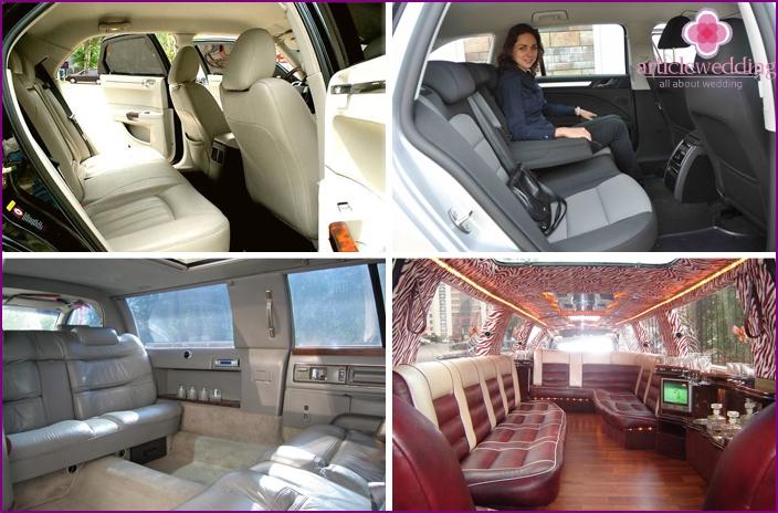 Spacious interior in a car for a wedding
