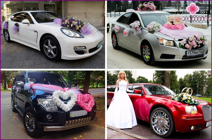 Color variety of wedding cars