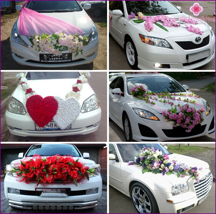 Options for decorating a car for a wedding