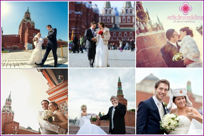 Wedding photo session in Moscow on Red Square
