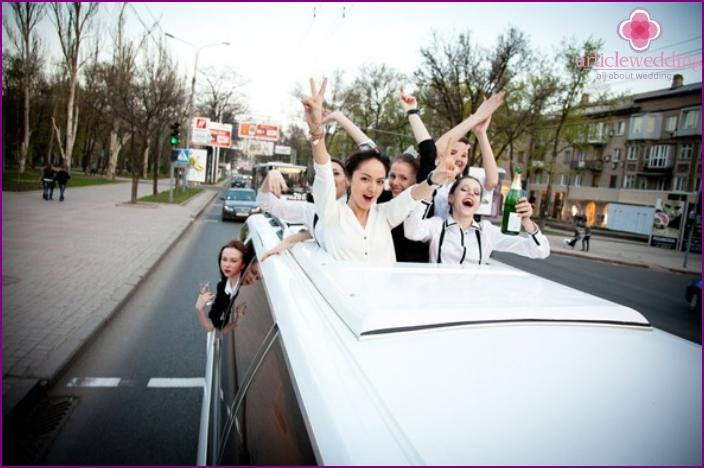 Bachelorette party in a limousine