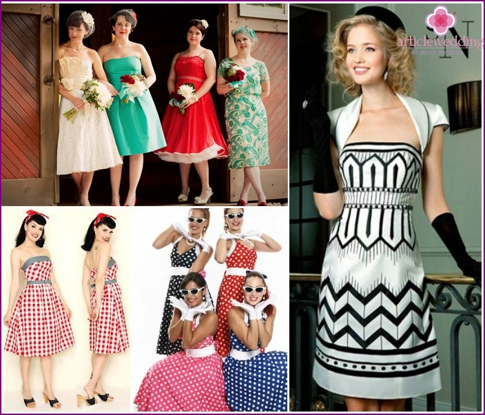 Retro dresses for the bride and her friends