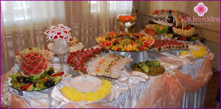 Festive buffet at home wedding