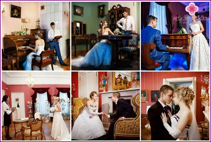Wedding photo session in the Moscow furniture museum in winter