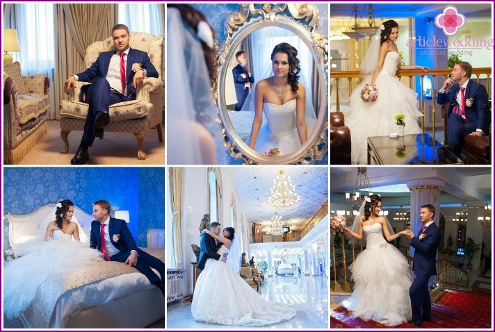 Photoshoot of the bride and groom at the Radisson Royal in Moscow