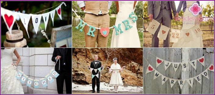 Garlands for a wedding photo shoot