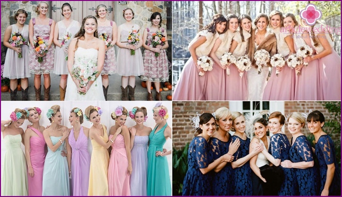 Bridesmaids in identical dresses
