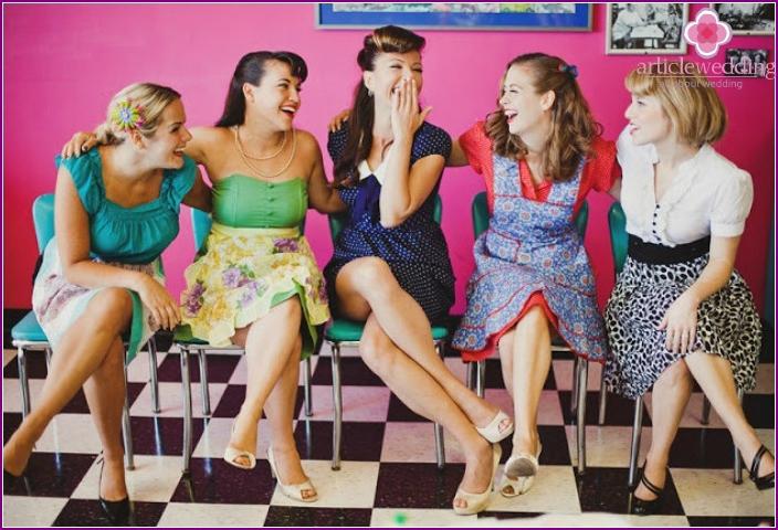 Retro-style bachelorette party