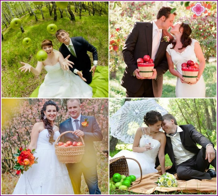 Pictures of the newlyweds with apples in the forest
