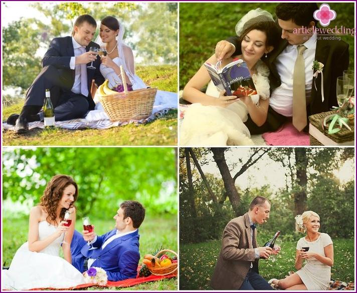 Honeymoon picnic on the lawn