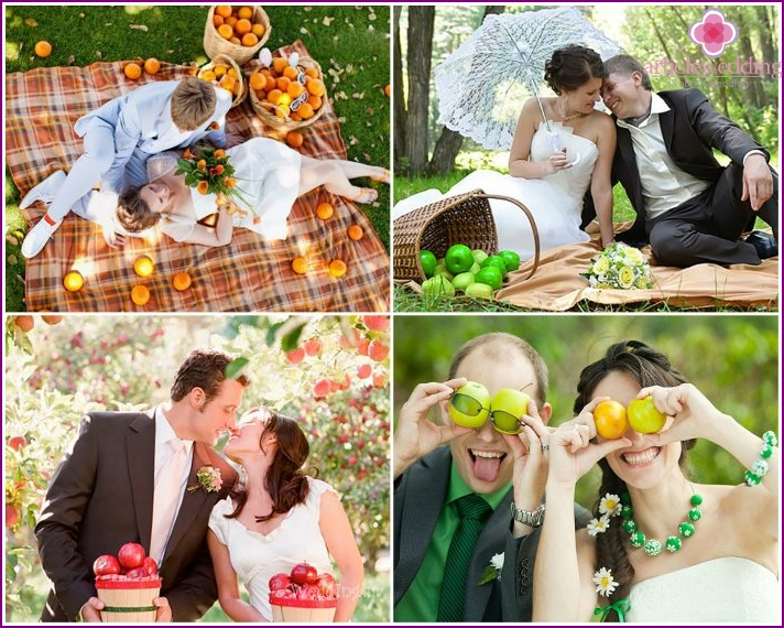 Wedding photos with fruits