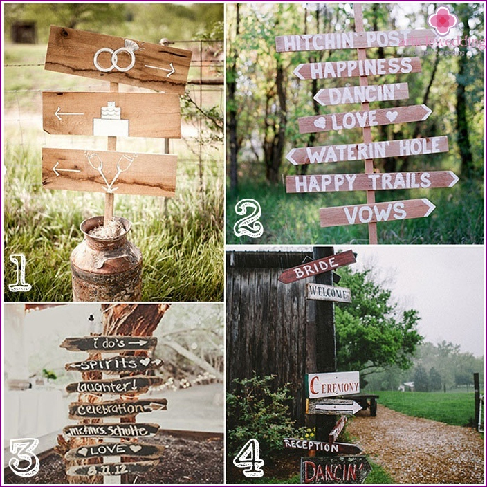 Signposts for wedding photo shoot
