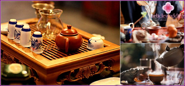 Chinese-style wedding tea bar