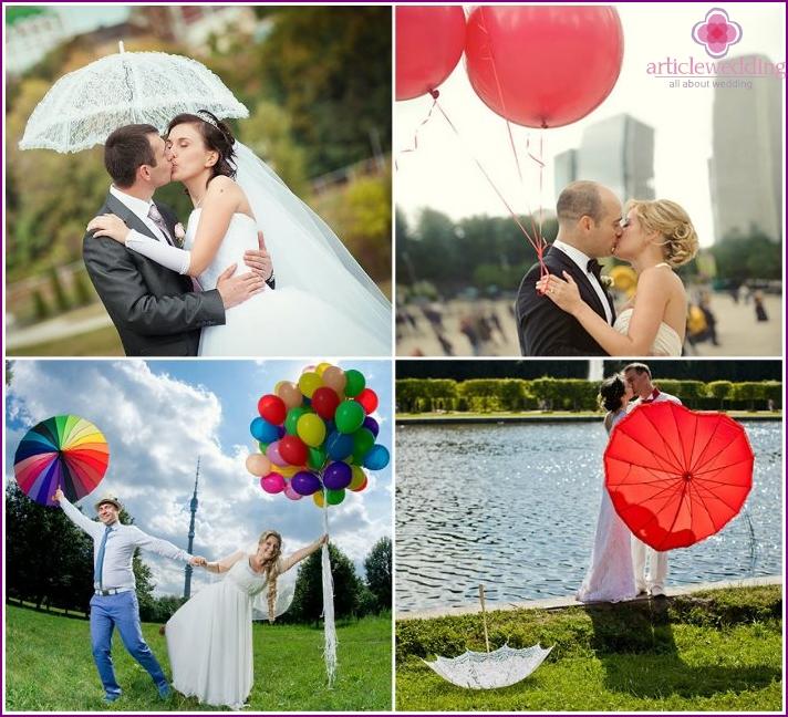 Hochzeitsfotos mit Luftballons und Regenschirmen
